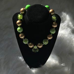 Lime & Gold Polka Dot Bubblegum Necklace